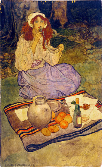 Elizabeth Shippen Green Miguela kneeling still put it to her lip - تاریخچه تصویرسازی