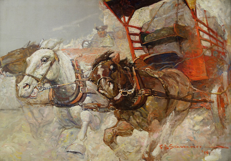 Runaway Horses by Frank Schoonover published in American Magazine Novembert 1914 - تاریخچه تصویرسازی