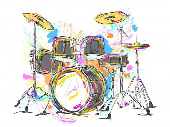 hand drawn drums - 6 مزیت آموزش موسیقی