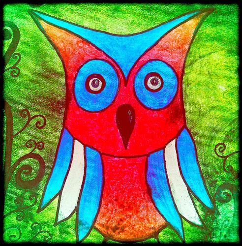 colorful owl - تفسیر نقاشی کودکان