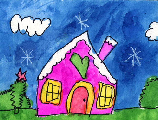 house rain - تفسیر نقاشی کودکان