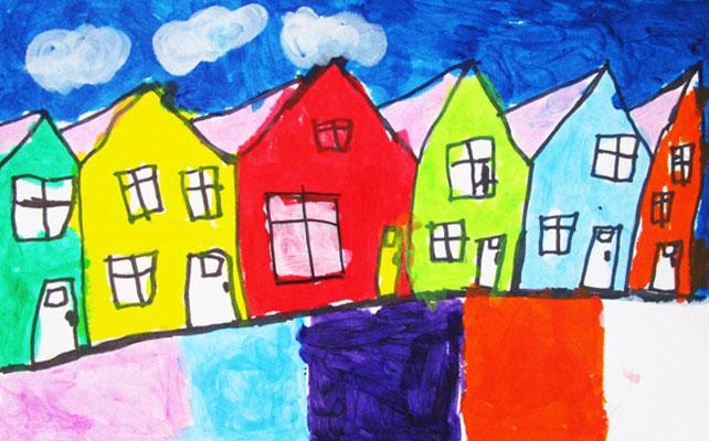 row houses - تفسیر نقاشی کودکان