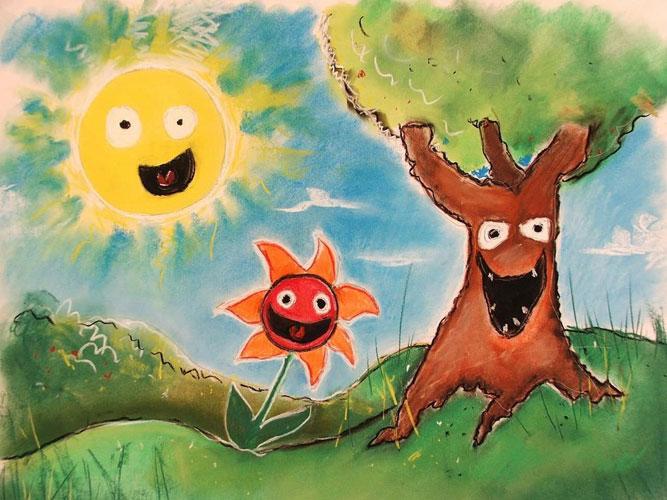 sun rain - تفسیر نقاشی کودکان