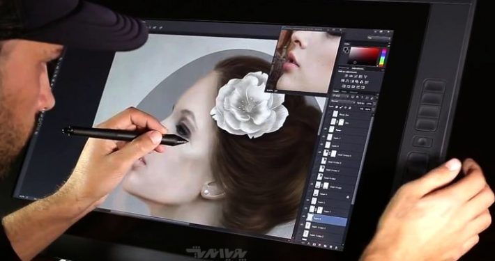 wacom tutorial photoshop digital portrait painting of a woman 710x375 - نقاشی دیجیتال ، دیجیتال پینتیگ