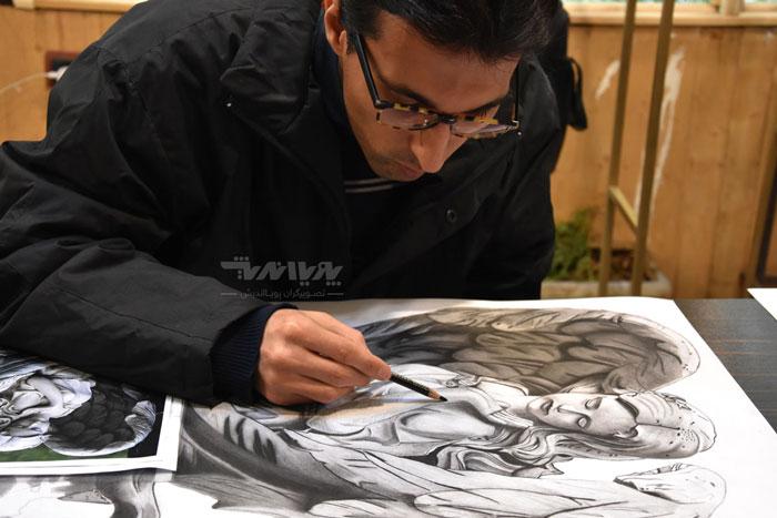 نقاشی سیاه قلم هنرجو