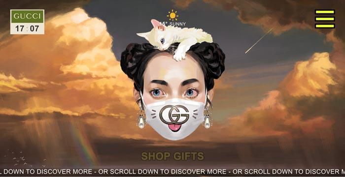 gucci gift guide 1 - طراحی گرافیک وب سایت به کمک تصویرسازی انتزاعی