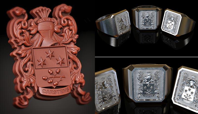 Family Crest Ring - کاربردهای زیبراش ؛ طراحی جواهر با زیبراش