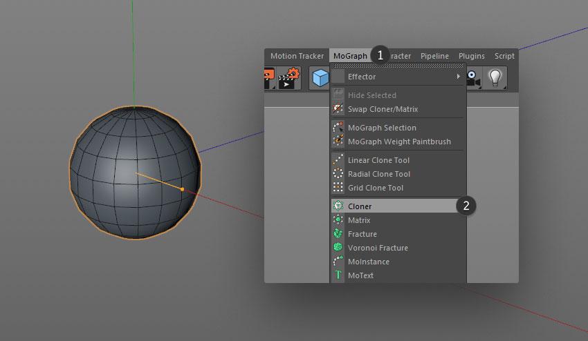 cloned spheres step 03 - نحوه ی ساخت قلموی سه بعدی هندسی فوتوشاپ با Cinema 4D