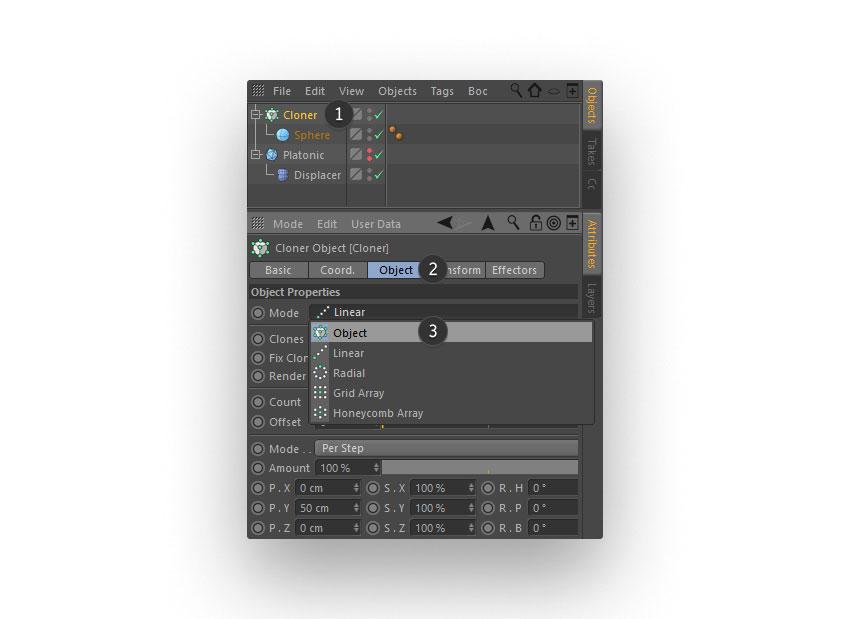 cloned spheres step 05 - نحوه ی ساخت قلموی سه بعدی هندسی فوتوشاپ با Cinema 4D