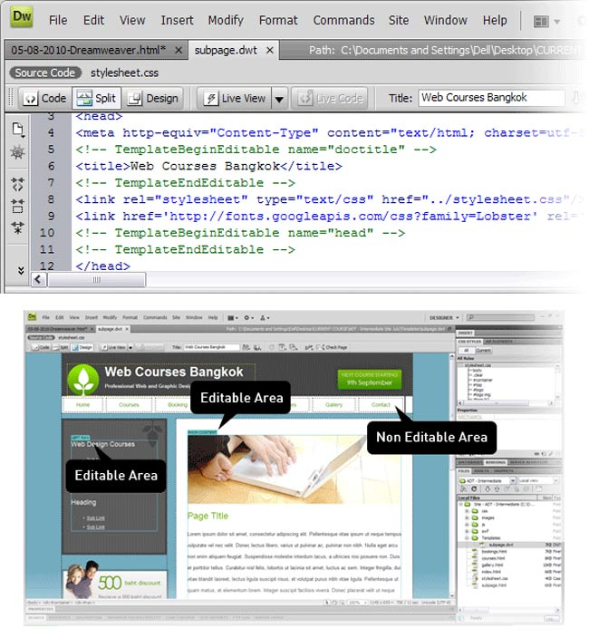 step8 2 dreamweaver template 1 - 10 نکته مفید درباره Dreamweaver