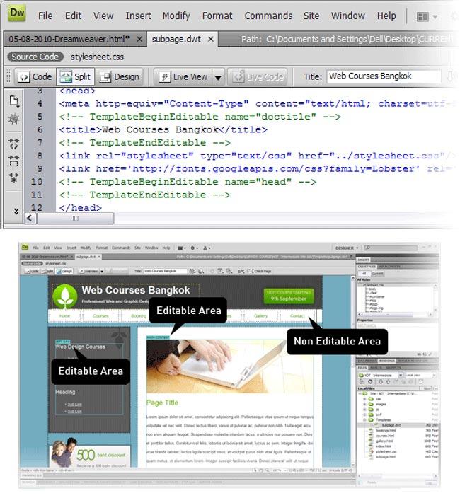 step8 dreamweaver template - 10 نکته مفید درباره Dreamweaver