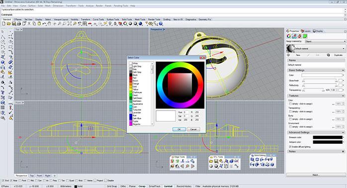 rhino Color and textures 3 - مدل های Rhino: طراحی یک فایل سه بعدی قابل چاپ