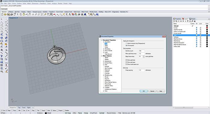 rhino Grid adjustment step 1 - مدل های Rhino: طراحی یک فایل سه بعدی قابل چاپ