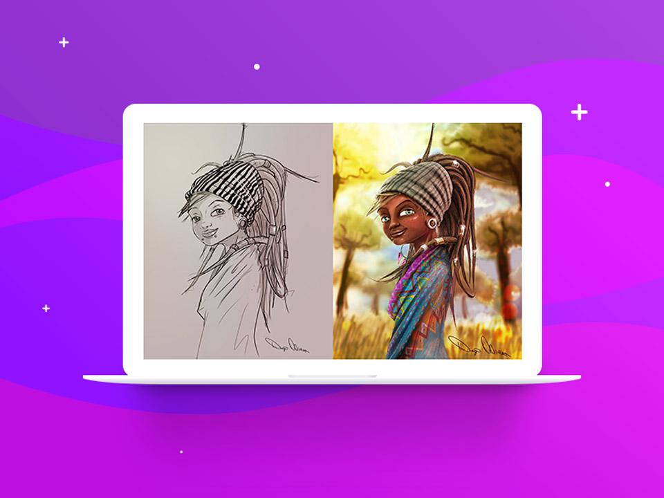 sketch digital painting - نقاشی دیجیتال با فتوشاپ تکنیکها، ترفندها و آموزشها