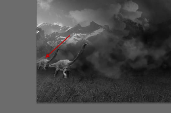 pouyaandish photoshop dainasor31 - ساخت نقاشی دیجیتالی در فوتوشاپ : « انقراض دایناسورها»