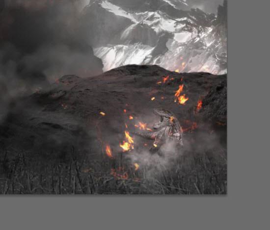 pouyaandish photoshop dainasor40 - ساخت نقاشی دیجیتالی در فوتوشاپ : « انقراض دایناسورها»