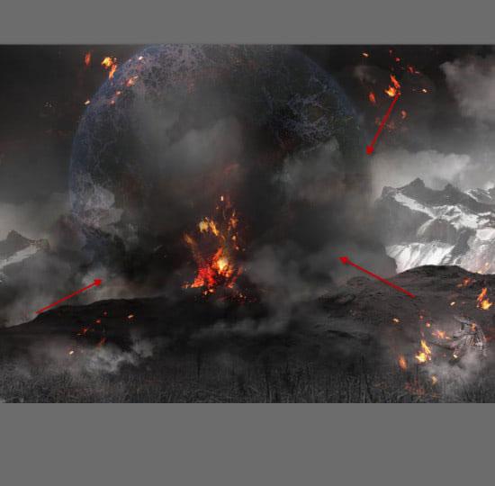 pouyaandish photoshop dainasor43 - ساخت نقاشی دیجیتالی در فوتوشاپ : « انقراض دایناسورها»