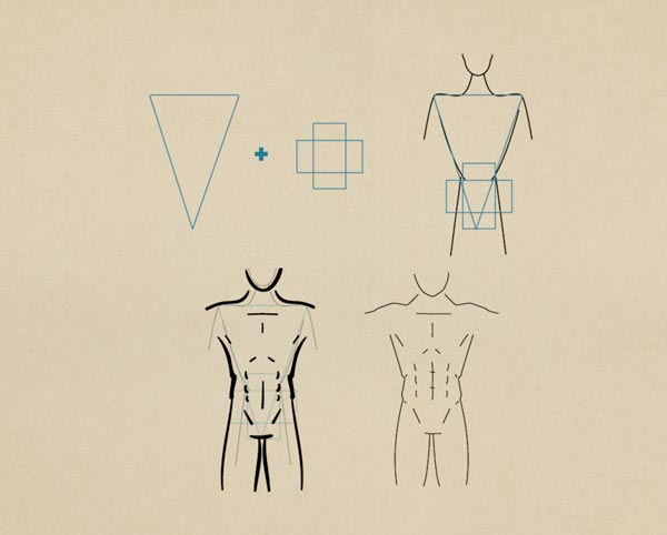 Step10 Muscular Figure Male - روش طراحی بدن زن و مرد برای طراحی لباس