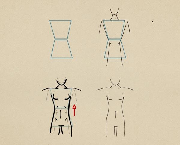 Step5 Toned Figure Female - روش طراحی بدن زن و مرد برای طراحی لباس