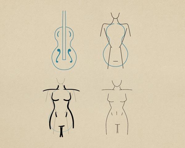 Step7 Guitar Hourglass Figure Female - روش طراحی بدن زن و مرد برای طراحی لباس