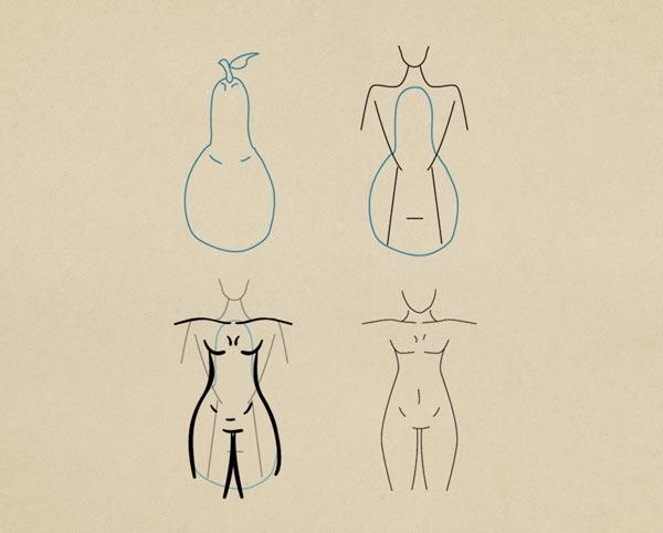 Step 6 Pear Figure Female - روش طراحی بدن زن و مرد برای طراحی لباس