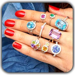 Gem Colour in Rings1 - گوهرتراشی