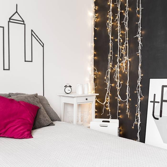 چراغ های رشته ای برای دکوراسیون اتاق خواب