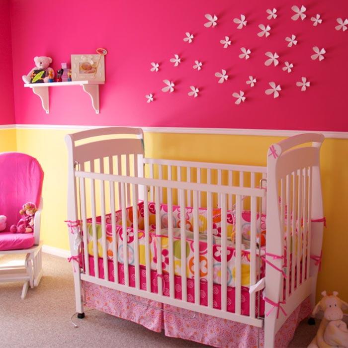 رنگ مناسب در تغییر طراحی اتاق خواب دختران از تولد تا نوجوانی