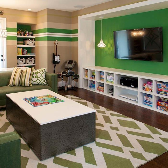 اتاق بازی با رنگ سبز و شکل های هندسی