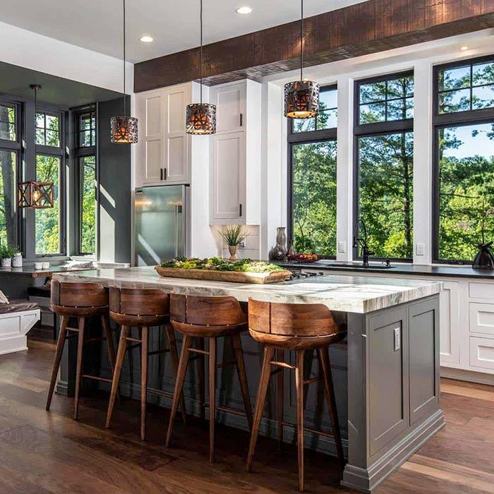 پنچره مناسب و وسایل روشنایی در آشپزخانه ها به سبک روستیک