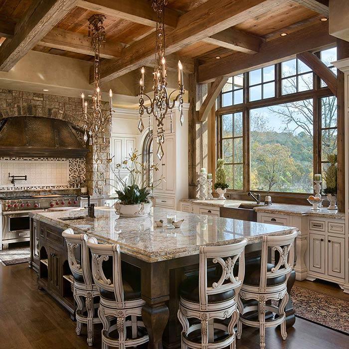 مواد طبیعی در آشپزخانه به سبک روستیک