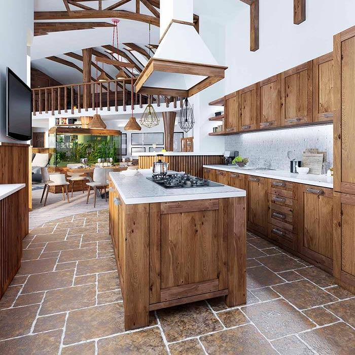 چوب های سخت در آشپزخانه های روستیک
