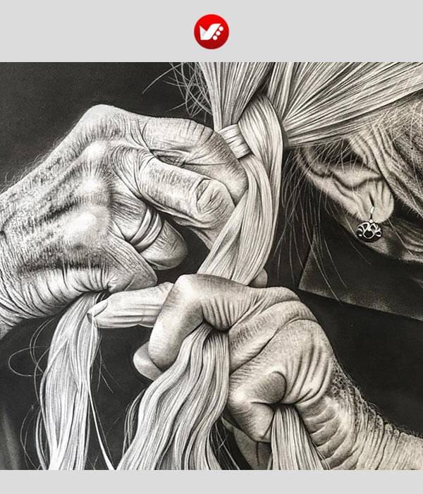به تصویر کشیدن بافت مو با ذغال