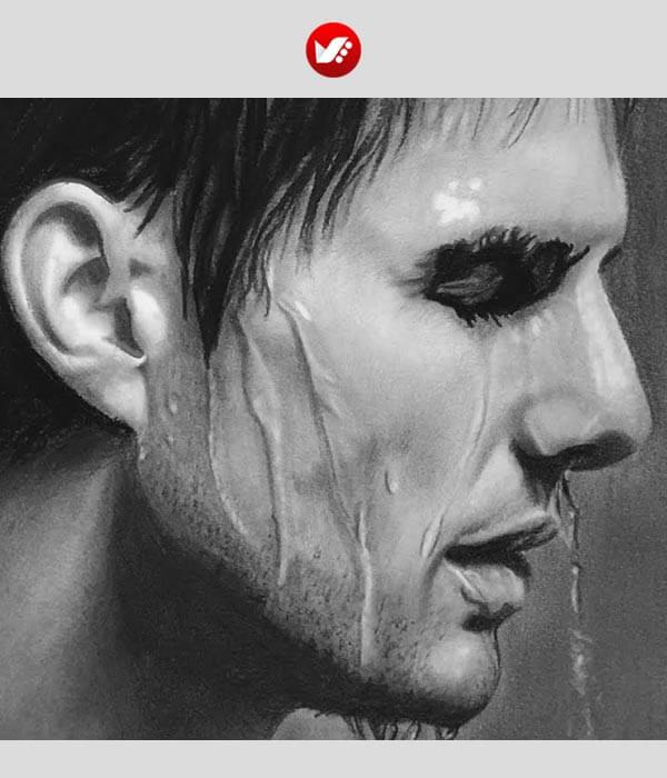 نقاشی چهره با زغال