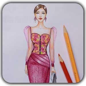 طراحی لباس با مداد رنگی