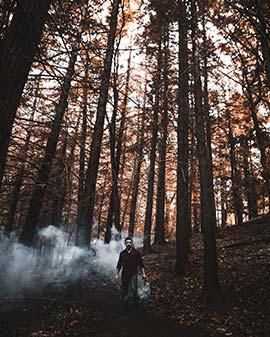 عکس پسر با دود رنگی در جنگل