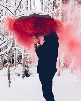 عکاسی با دود رنگی و چتر